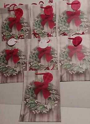 "10 Christmas Wreath Extra Large Cello Goodie Bags 6x13-1//2/"" Holiday Yule Party"