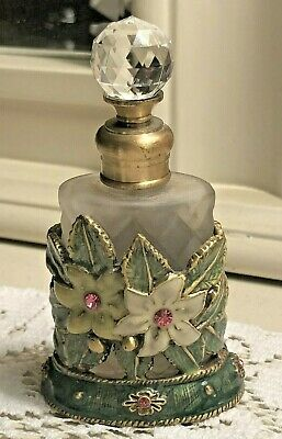 """Vintage Jeweled Perfume Bottle with Enameled Flowers Clear Crystal Top 4"""""""