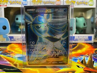 Ultra Rare Light Played Pokemon XY Fates Collide Glaceon EX 20//124