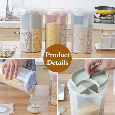 Us Kitchen plastic storage bins Cereal Bread Grain Container Keeper Bean