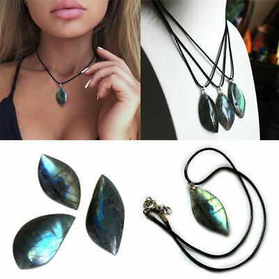 Natural Labradorite Crystal Pendant Necklace Moonstone Healing Gifts Unisex Arts