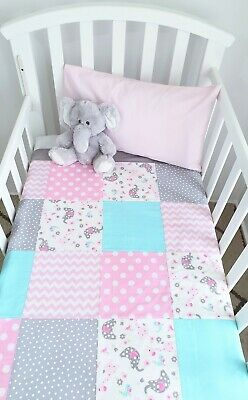 Baby Girl patchwork cot quilt - Beautiful pastels- Elephant, Giraffe + floral