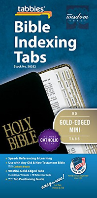Tabbies Mini Gold-Edged Bible Indexing Tabs, Old & New Testament Plus Catholic &
