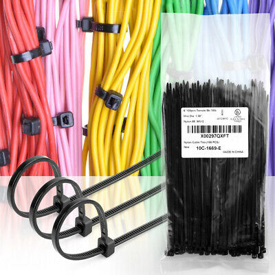 100 Pcs 6'' Cable Zip Ties Wraps Self-Locking Nylon Wire Wrap Kit Black for Home