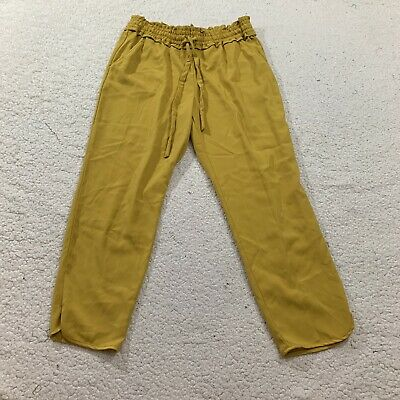Zara Womens Pants Gold Cropped Length Straight Leg Culottes Trousers Large L