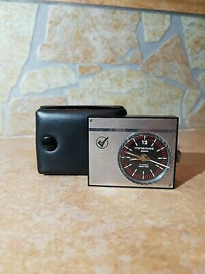 Miniswiss Travel Alarm Clock Gold Tone In Red Case - 17 Jewels Swiss Made