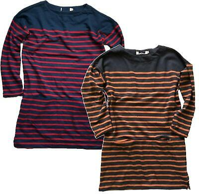 NEW EX SEASALT UK SIZE 8 10 LOW LIGHT RED NAVY STRIPED COTTON JERSEY TOP