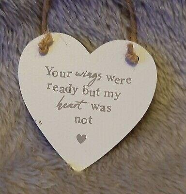 Vinyl decal quote phrase DAD Your wings were ready but MY heart was not  20cms