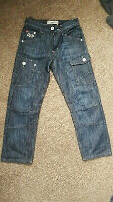 Used Boys Ripstop Designer Navy Blue Denim Jeans – Size 9 - 10 years.
