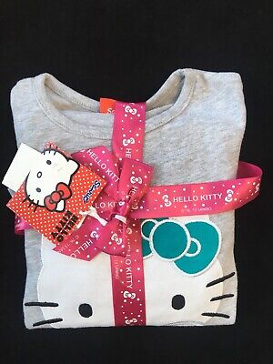 Hello Kitty Girls Pyjamas Pyjs Set Pink Grey Age 4-5 Years H 110 cm