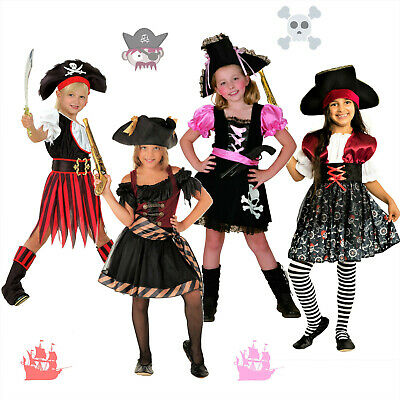 TOP Fasching Kinder Piratenkostüm Faschingskostüm Mädchen Piratin Piraten Kostüm