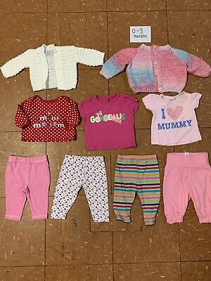 Girls Clothes Bundle Age 0-3 Months Knitted Cardigan Tops Leggings T-shirts