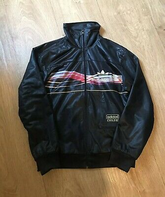 Adidas Chile 62 Leather Jacket Black Gold Size Small Wet Look Very Rare