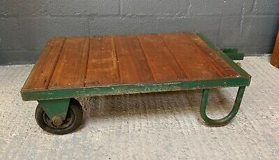 Vintage Industrial Factory Dolly / Trolley Wooden & Steel Great Coffee Table