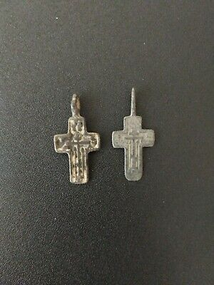 Pair of Medieval Byzantine Bronze Crosses, pendants 14th-15th century