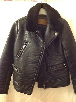 Zara Girls Black Faux Leather Jacket With Fur Collar Age 8 Immaculate