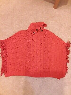 Girls Next Poncho - Red Knitted Polo High Neck Poncho - Age 7-8 Years