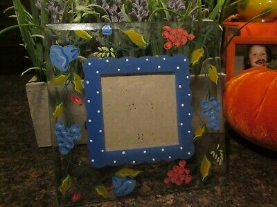 Clear Glass Picture Frame W/ Hand Painted Fruit On Borders, Pottery Barn 1990's