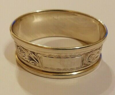1966 Henry Griffiths & Sons Birm' oval sterling silver napkin ring -