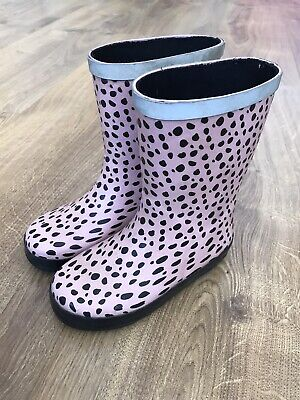 Clarks Kids Infant Girls Pink Spotted Wellies Wellington Boots Size 8