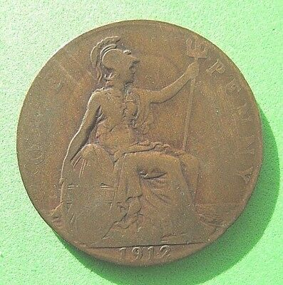 Gb    One Penny Coin    George V   1912   (106 Years Old)   Circulated