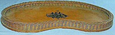 Large Antique Vintage Victorian Ladies Wooden & Wicker Tray