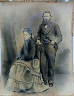 """Decorative Large Antique Charcoal STUDY OF EARLY Victorian 19thC couple 16""""x 20"""""""