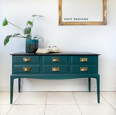 Vintage Stag Minstrel Sideboard Painted Dark Green, Console, Dressing Table