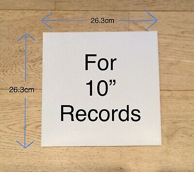 """20 x 10"""" LP 78rpm RECORD SLEEVES NO HOLE White Card Album Cover Vinyl Outer"""