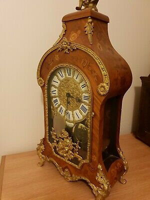 Vintage 8 Day Boulle Type Rococo Walnut Mantle Clock