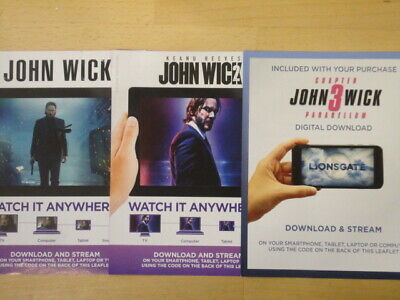 John Wick Trilogy Chapters 1, 2, 3 Keanu Reeves - Google Play Download Codes