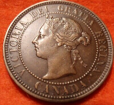 1886 XF High Grade CANADA LARGE CENT Victoria COIN CANADIAN.