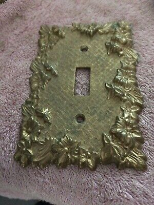 Vintage M.C. Co. Brass Raised Flowers Single Outlet Cover #3107 ca.1960's