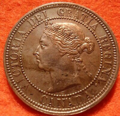 1888 AU-UNC Repunched 8s High Grade CANADA LARGE CENT Victoria COIN CANADIAN.