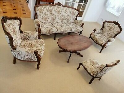 Elegante French Louise Lounge Suite Set - 5 Pieces - Wood Crafted - Used.