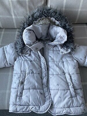 Girls Next Winter Coat Grey Silver Butterfly Hooded Size Age 6 Years Next