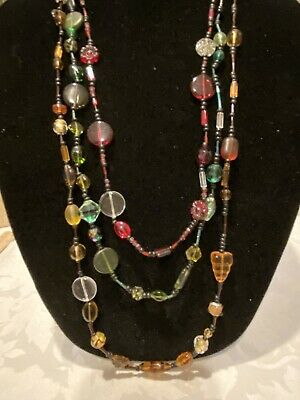 """3-Layer Multi-Color Glass Beaded Necklace, 20"""" Long, See Pics"""