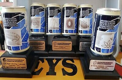 SET OF 6 CONTAINERS PACKAGING 1995 CONFERENCE BEER CANS includes PRIZE CAN