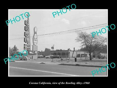 OLD POSTCARD SIZE PHOTO CORONA CALIFORNIA, VIEW OF THE BOWLING ALLEY c1960