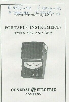 General Electric GE Company Instructions Portable Instruments Type AP 9 & DP 9
