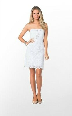 $368 Lilly Pulitzer Reeve Resort White Mini Daisy Truly Lace Shift Dress 26430