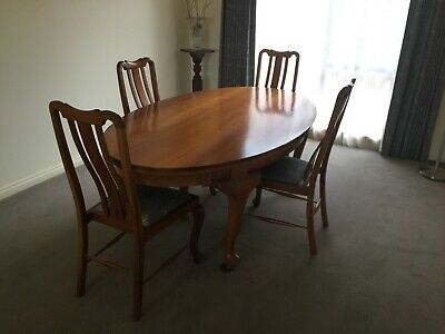 Dining Table. Blackwood. Late 1800's. Four Chairs.