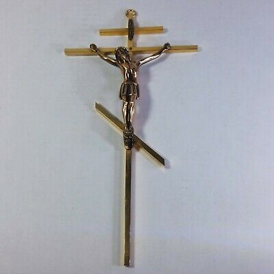 "VTG Brass Russian Orthodox Crucifix Three Bar Cross Wall Hanging 10"" Jesus EUC"