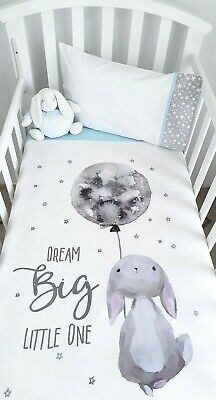 """New Cute bunny """"Dream Big Little One"""" Cot quilt set- Baby blue"""