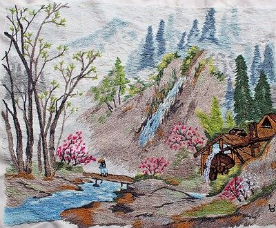 Mountain Cabin Water Trees Punch Embroidery Needlepoint Completed Finished