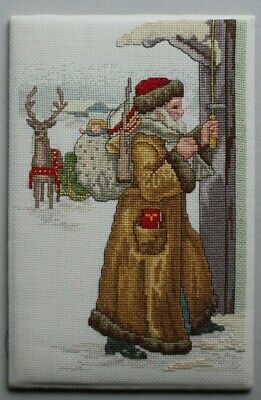 Christmas Santa Claus Ringing Doorbell Reindeer Cross Stitch Complete Finished