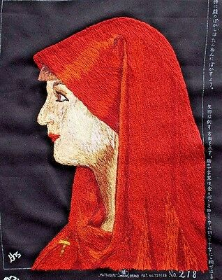 Woman Red Headdress Punch Embroidery Needlepoint Matsuhato Completed Finished