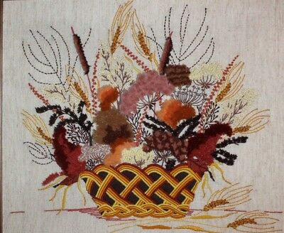 Vintage Floral and Wheat Arrangement Basket Crewel Embroidery Completed Finished