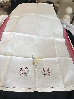 Irish Linen Tea Towel - Beautifully Embroidered With Pink Striped Border - New