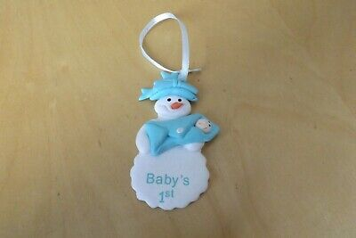 baby's 1st christmas snowman tree ornament - blue NEW